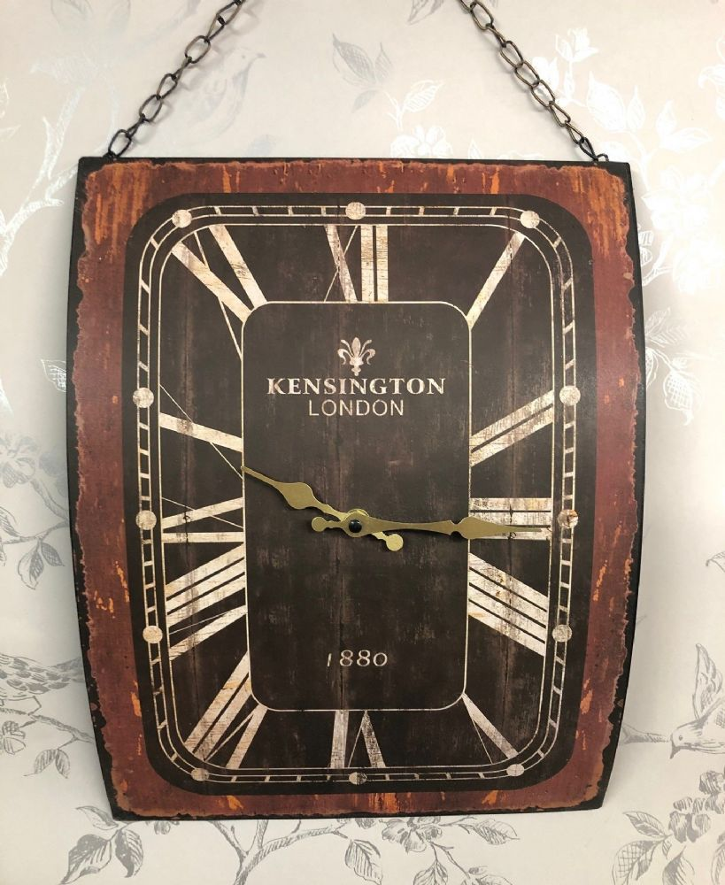 Kensington Large Decorative Metal London Theme Wall Clock with Chain